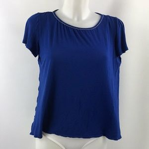 St. John Blue Beaded Short Sleeve Top Size Petite